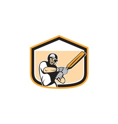 Cricket Player Batsman Batting Shield Cartoon vector image vector image