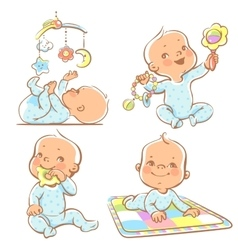 Cute little babies with different toys vector