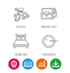 Fertilization double bed and octopus icons vector