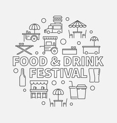 food and drink festival round concept linear vector image vector image