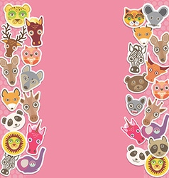 Funny animals card template pink background vector
