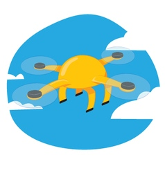 Funny yellow drone flying on a blue sky background vector image vector image