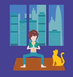Girl is doing yoga at home healthy lifestyle vector