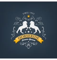Horses logo emblem vintage style with vector