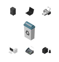 Isometric office set of strongbox laptop vector