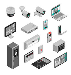 isometric smart home set vector image vector image