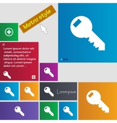 Key sign icon Unlock tool symbol Set of colored vector image