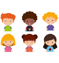 Kids with different facial expressions vector