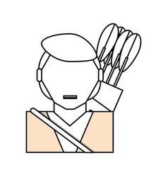 Man with bow arrows vector