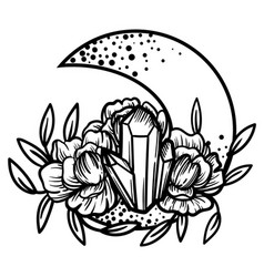 moon crystal with peony flowers beautiful vector image