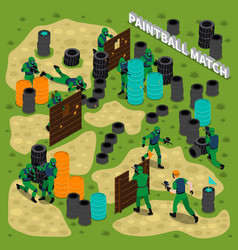 Paintball match isometric vector