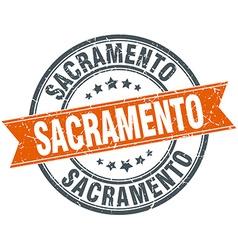 Sacramento red round grunge vintage ribbon stamp vector