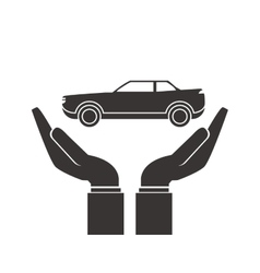 Shelter hand with car icon vector