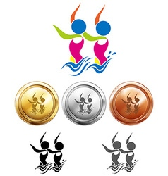 Sport icon design for synchronized swimming on vector
