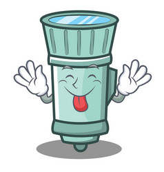 Tongue out flashlight cartoon character style vector