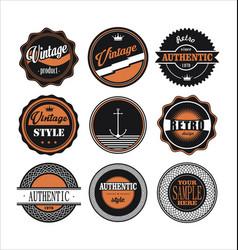 Vintage labels black and orange set 1 vector