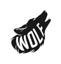 Wolf silhouette with concept text inside on white vector image vector image