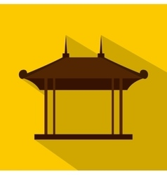 Wooden pavilion icon flat style vector