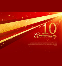 10th anniversary celebration card template vector