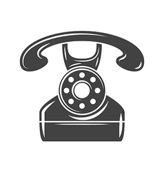 Retro phone black icon logo element flat isolated vector