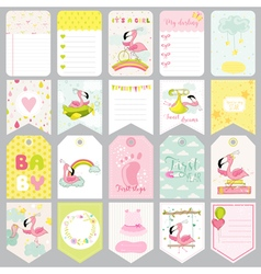Baby Flamingo Tags Baby Banners Scrapbook Labels vector image