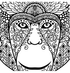 zentagle monkey head with ethnic motifs vector image
