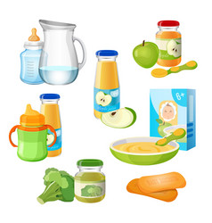 Organic food for babies poster juices and vector