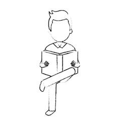 Man reading textbook character vector