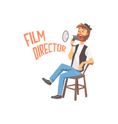 Film director sitting in his chair speaking into a vector