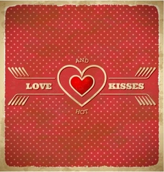 Vintage Valentines Day card with polka dots and vector image