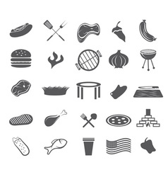 Bbq and fast food web icons set flat design vector