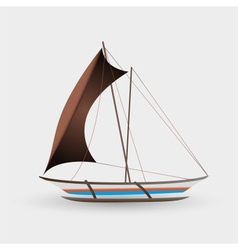 Catamaran boat with big sail colorful graphics vector