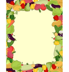 Colorful vegetable frame healthy food concept vector
