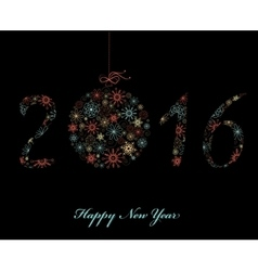 Happy new year greeting card 2016 vector