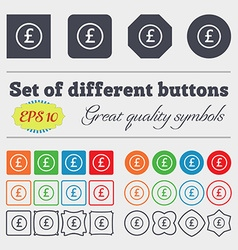 Pound sterling icon sign big set of colorful vector