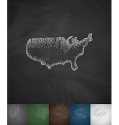 Map of usa icon hand drawn vector