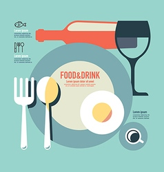 Foods and drink template modern minimal flat vector