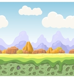 Cartoon fairy tale landscape stones seamless vector