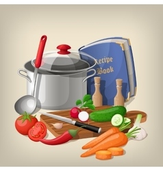 Kitchen utensils and vegetables kitchen vector image