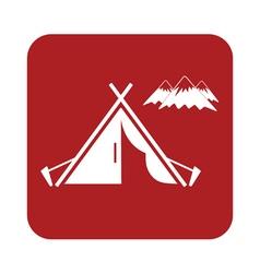 Tent mountains icon vector