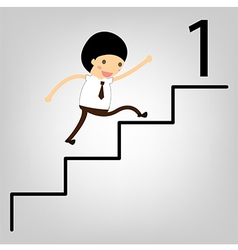 business concept Man stepping up a staircase to su vector image vector image