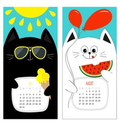Cat calendar 2017 Cute funny cartoon white black vector image vector image