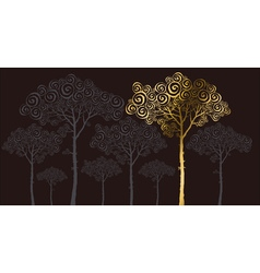 Concept of gold pine silhouette vector