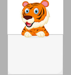 Cute tiger cartoon holding sign vector