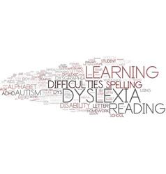 dyslexia word cloud concept vector image