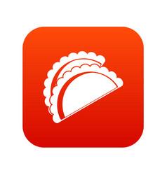 Empanadas de pollo icon digital red vector