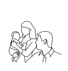 Father mother and baby sketch hand vector