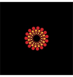 Isolated abstract red and yellow flower vector image