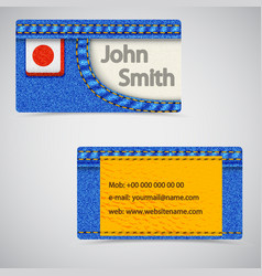 jeans business card vector image