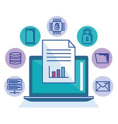 laptop technology file document storage internet vector image